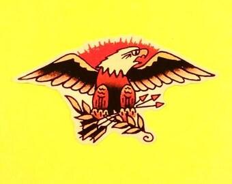 Eagle Crest Sunburst Old School Tattoo Rockabilly Sailor Jerry Vinyl Sticker