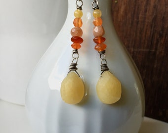 Sunset. Stones the color of a summer sunset. Carnelian, Aventurine and Yellow Jade sterling silver earrings Anne More Jewelry