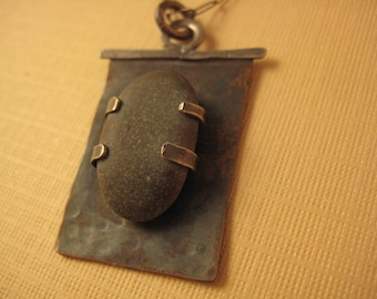 Beach pebble in setting sterling silver necklace