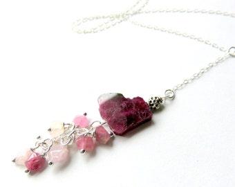 Watermelon Pink Tourmaline Lariat Necklace,Tourmaline Eternity Necklace, Sterling Silver Tourmaline Long Y Necklace, Pink Cranberry Necklace