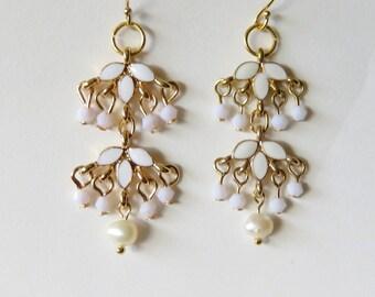 Gold Cluster Earrings, White Enamel on Gold, Dainty Wedding Jewelry, Lightweight Dangles, Long Drop Earrings, Destination Wedding