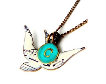 Song Bird Necklace Mother And Child With Child Initial A Mother's Necklace And Initial Necklace Or A Personalized Gift As A Graduation Gift