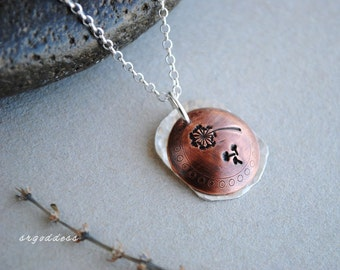 MAKE A WISH sterling silver and oxidized copper pendant necklace by srgoddess