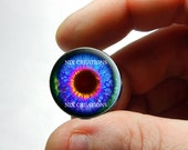 Zombie Glass Eyes - Human Doll Eyeballs Handmade Glass Cabochons - Design 9 - Pair or Single - You Choose Size