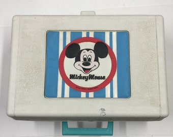 Vintage Mickey Mouse Record Player Works with 5 Records Bambi Dumbo Mother Goose