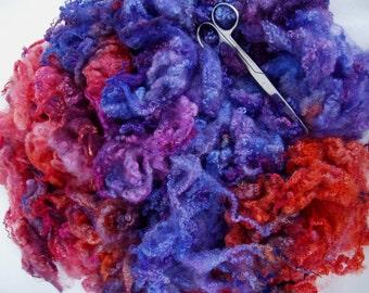 4.2oz, Bluefaced Leicester curly fleece wool, hand painted fleece, felting wool, dolls hair, curls, locks, spinning fiber,blue, orange, 120g