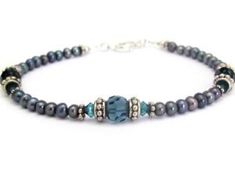 Blue Pearl Bracelet, Real Pearls, Swarovski Crystal Bracelet, Sterling Silver, 8 inch  Long Wedding Jewelry Hawaii Jewelry