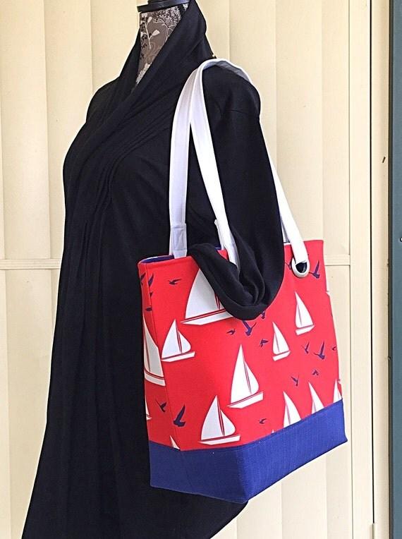 Sailboat beach bag Large beach bag Waterproof lined beach