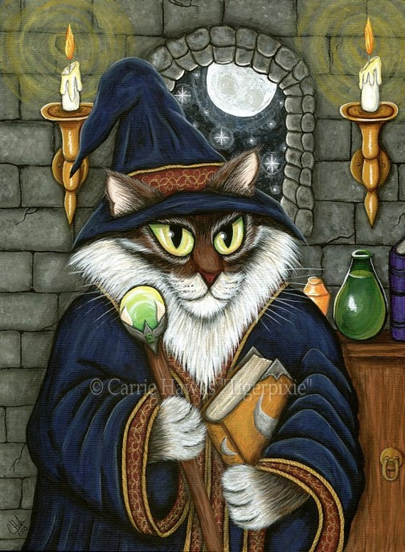Cat Wizard Art Merlin Magician Cat Painting Magic Cat Sorcerer Cat Maine Coon Cat Fantasy Cat Art Print 5x7 Cat Lovers Art