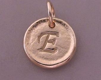 Inital Letter Pendant in 14k Rose Gold - Tiny Pebble