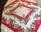 RESERVED FOR VALERIE Vintage Tablecloth - Yellow and Red Rose Center Medallion Printed Table Linen - Rich Red and Kelly Green Retro Colors