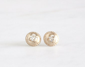 14k gold diamond stud earrings, hand carved earrings, ethical diamonds, moissanite studs