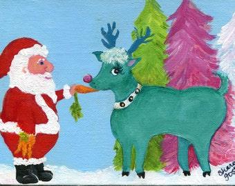 Christmas art painting, Santa Claus, aqua reindeer small painting, acrylics canvas panel, holiday decor,  5 x 7 acrylic painting canvas art