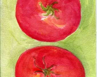 A Couple of Tomatoes watercolor painting  4 x 6 original watercolor art, tomatoes illustration, original painting, kitchen decor, wall art