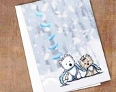 Winter Terriers Westie and Yorkie Dogs Holiday Card