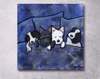 ORIGINAL Painting Westie Scottie Terrier and Spaniel Dogs Art