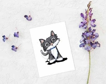 ORIGINAL Art Skinny Kitty ACEO Cat Drawing