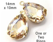 Light Colorado Topaz, Glass Beads, Pear Teardrop, Golden Brass Settings, One or Two Rings, 14mm x 10mm, Rhinestone Jewels, One Pair