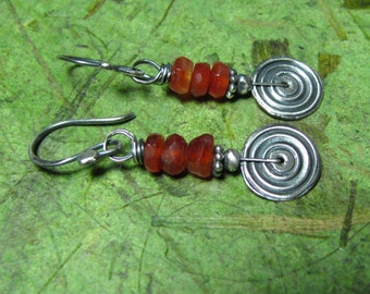 Sacred - Carnelian and Sterling Silver Earrings