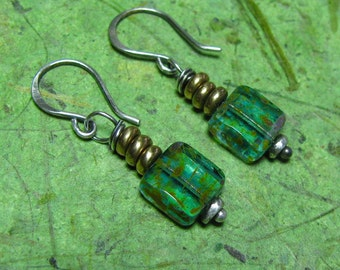 Kihei Shores - Picasso Czech Glass, Brass and Sterling Silver Earrings