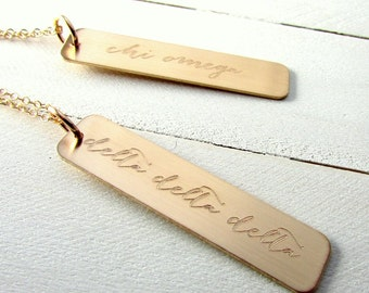 Sorority Necklace | Gold Bar Necklace | Modern Calligraphy | Engraved Greek Sorority | 14K GF