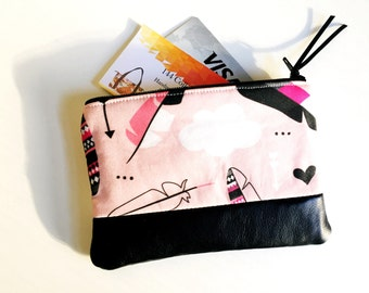 Arrows and Clouds Pink Leather Pouch, Coin Purse, Small Change Wallet, Coin Pouch, Zipper Pouch