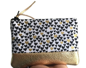 Mini Hearts Gold Leather Pouch, Change Purse Leather, Black Coin Wallet, Hearts Leather Coin Purse, Small Zipper Pouch, Gold Pouch