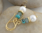 PEARL Aquamarine Gold Vermeil Dangle  Drop Earrings // Handcrafted Jewelry // luluglitterbug