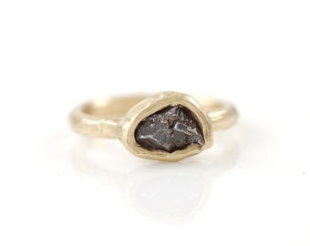 Single Meteorite Ring in 14k Yellow Gold - Made to Order