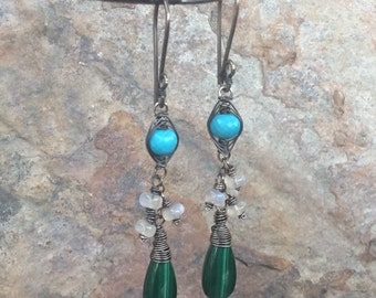 TURQUOISE, MOONSTONE, and MALACHITE earrings, Multi gemstone jewelry, handmade artisan earrings, Angry Hair Jewelry