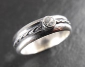 Engagement Ring - Sterling Silver and White Sapphire - Handmade in Seattle
