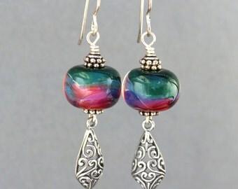 Lampwork Earrings, Glass Earrings, Sterling Silver Earrings, Dangle Earrings, Shimmer Green and Dark Pink Lampwork Earrings, Filigree Dangle
