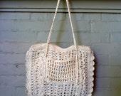 Vintage 80s WHITE WOVEN Basket Bag Purse Tote
