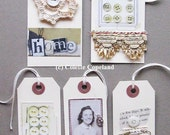 Original tag art, set of 4, vintage stories, OOAK, buttons, lace, photobooth
