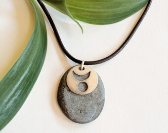 Horned God Necklace with Beach Stone