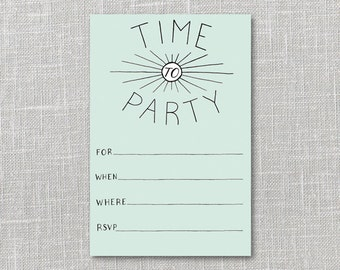 Deco Party Invitation Printable Instant Download PDF