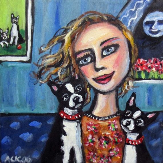 Boston Terrier Momma original folk art dog painting
