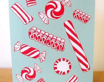 NEW peppermint candy holiday card