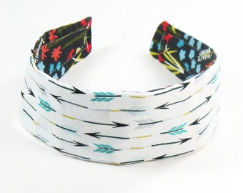 Wide Headband Reversible - Organic Fabric Wildflowers and Arrows
