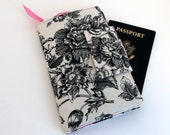 Travel wallet, Passport Organizer, Smart phone Wallet, Ticket wallet, Boarding pass organizer, Botanical Toile du Jouy with Pink  Dot lining