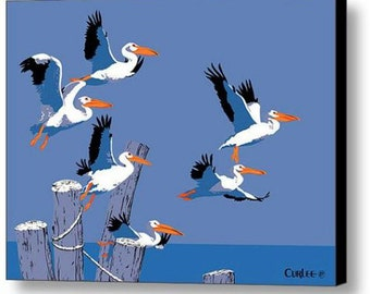 Pelicans Flying Giclee Canvas Print, Tropical Birds Art, Retro Pop Art Nouveau, Florida, Everglades