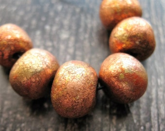 Variegated Copper Leafing Bead Set - 6 pieces - 9 to 10mm
