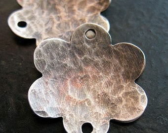 20mm Hammered Sterling Silver Blossoms in Antiqued or Bright Finish - 1 pair