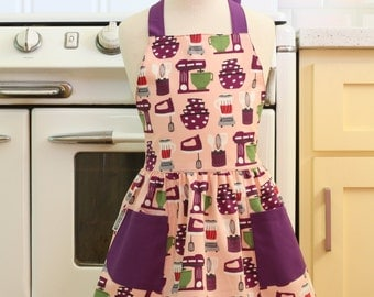 Vintage Inspired Baking Theme Pink and Purple Full Apron for Little Girls