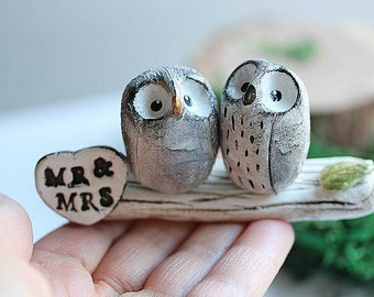 Clay Owl Cake Topper -Owl Cake topper - Miniature Hand sculpted Clay Owls - READY TO SHIP!