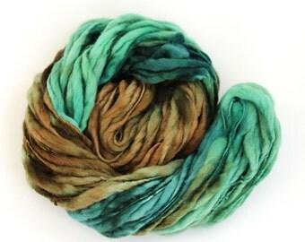 Thick and thin wool handdyed megachunky slub pure wool, dread falls knitting crochet Perran Yarns green super chunky bulky felting yarn