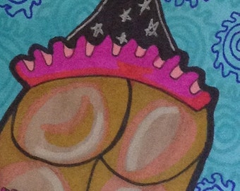 Party Tush original drawing aceo