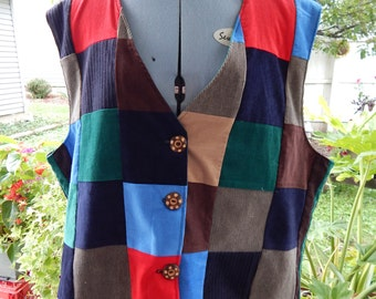 All Corduroy Patchwork Lined Vest inside pockets, hippie clothes, patchwork vest, mens vest, womens vest, OOAK Zipper pocket vest