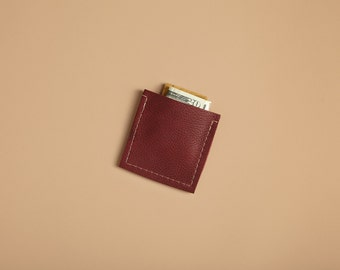 Square Slim Wallet - Port Burgundy Leather