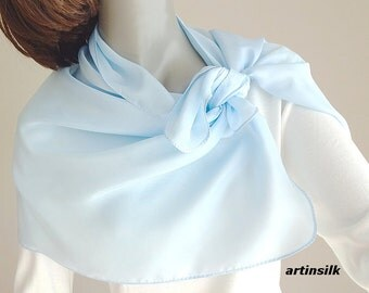 Sky Blue Scarf, Powder Light Blue, Small Petite Coverup, Hand Dyed Silk, Artinsilk.